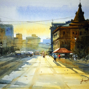 Cityscape09 by prasanta maiti, Impressionism Painting, Watercolor on Paper, Beige color