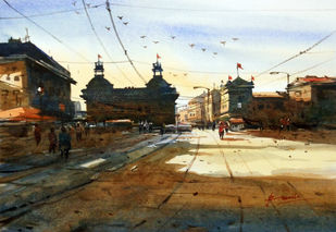 Cityscape08 by prasanta maiti, Impressionism Painting, Watercolor on Paper, Brown color