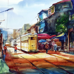 Amar Kolkata by prasanta maiti, Impressionism Painting, Watercolor on Paper, Brown color