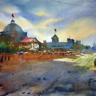 Cityscape07 by prasanta maiti, Impressionism Painting, Watercolor on Paper, Brown color