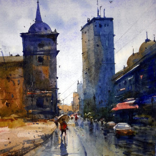 Cityscape06 by prasanta maiti, Impressionism Painting, Watercolor on Paper, Gray color