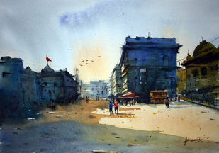 Cityscape04 by prasanta maiti, Impressionism Painting, Watercolor on Paper, Cyan color