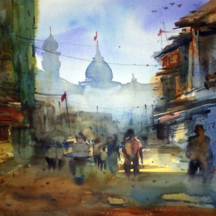 Cityscape03 by prasanta maiti, Impressionism Painting, Watercolor on Paper, Brown color