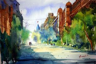 Kolkata by prasanta maiti, Impressionism Painting, Watercolor on Paper, Green color