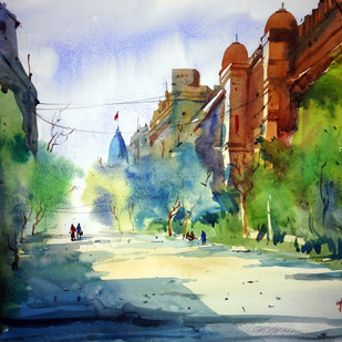 Kolkata by prasanta maiti, Impressionism Painting, Watercolor on Paper, Green color