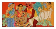 Family by Laxma Goud, Expressionism Serigraph, Serigraph on Paper, Beige color