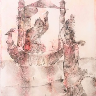 Untitled by Sakti Burman, Fantasy Painting, Watercolor & Ink on Paper, Pink color