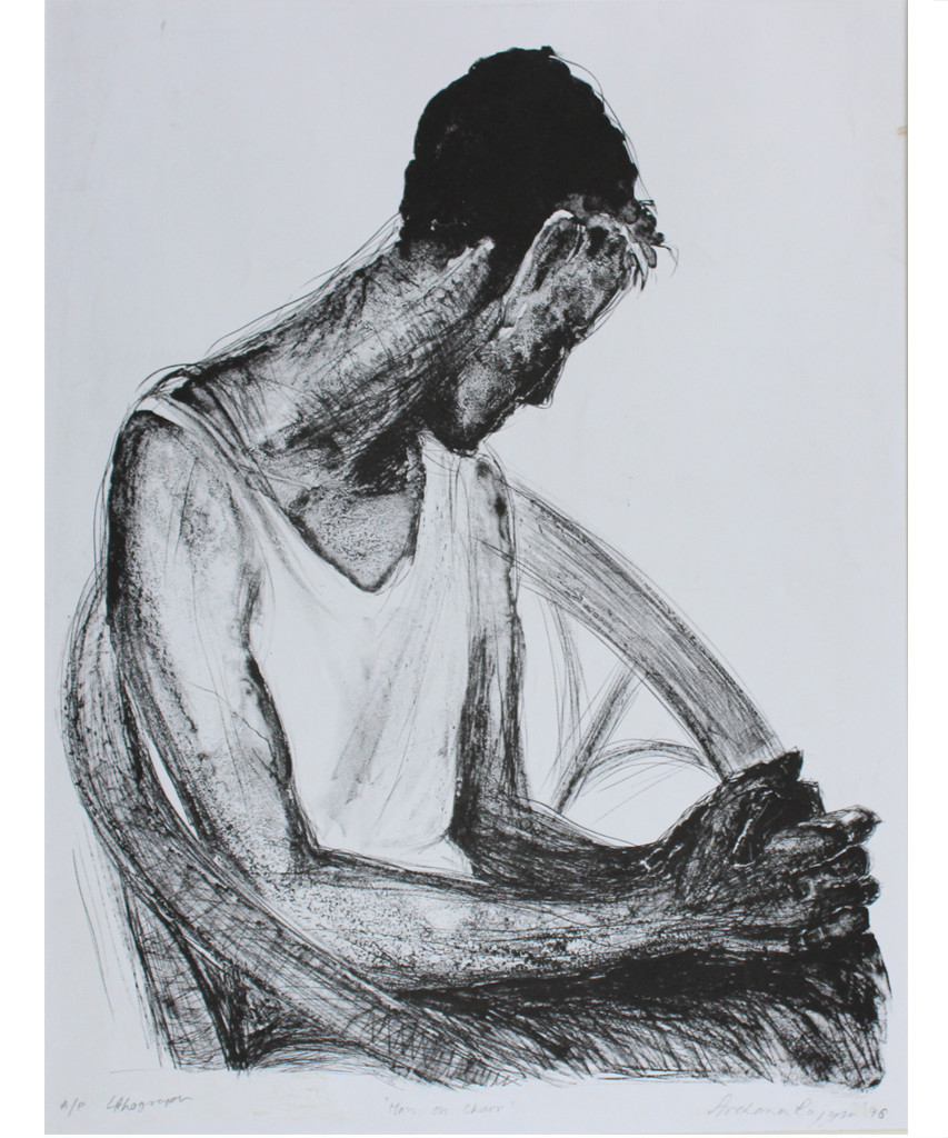 Man on chair by Archana Rajguru, Expressionism Printmaking, Lithography on Paper, Grey color