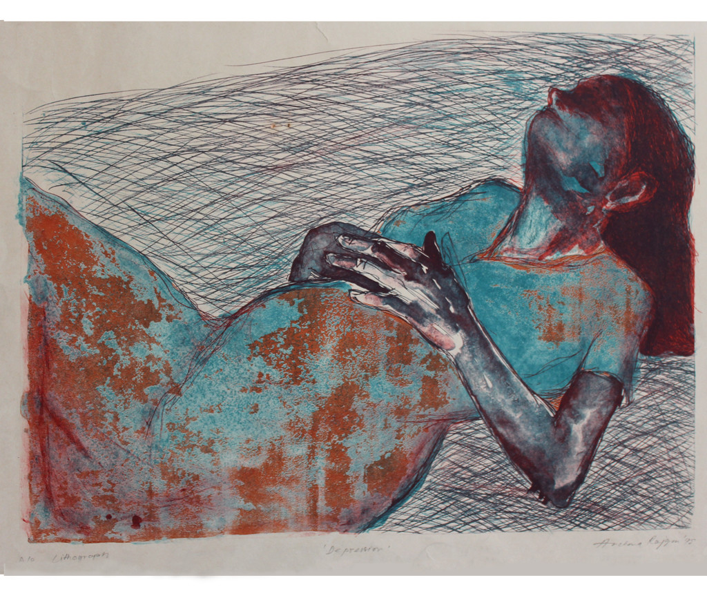 Reclining Woman by Archana Rajguru, Expressionism Printmaking, Lithography on Paper, Gray color