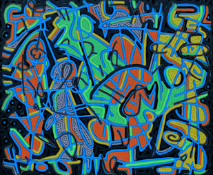 Tribe Assimilation by Bhuwal Prasad, Expressionism Painting, Acrylic on Canvas, Blue color