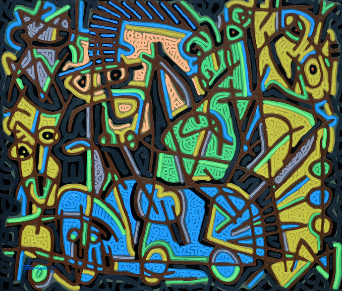 Tribe Assimilation- I by Bhuwal Prasad, Expressionism Painting, Acrylic on Canvas, Green color