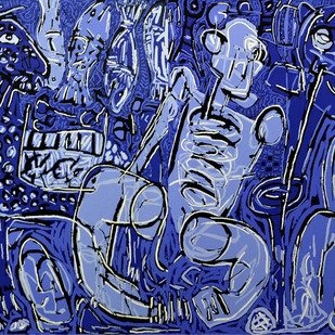 Dissemble - II by Bhuwal Prasad, Expressionism Painting, Acrylic on Canvas, Blue color