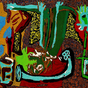 The age of speed by Bhuwal Prasad, Expressionism Painting, Acrylic on Canvas, Green color