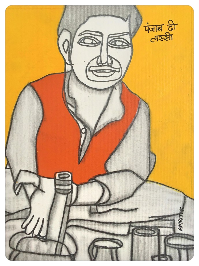 Postcards From India- Punjab Di Lassi by Amrit Khurana, Expressionism Painting, Acrylic on Paper, Beige color