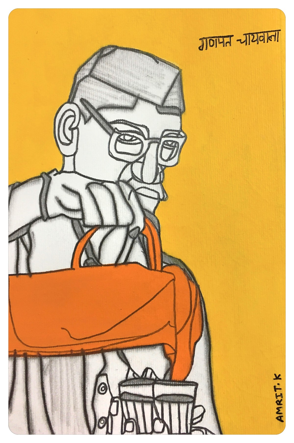 Postcards From India- Ganpat Chiwala by Amrit Khurana, Expressionism Painting, Acrylic on Paper, Orange color