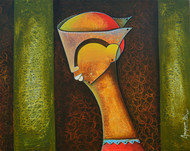 Framed Innocence 2 by anupam pal, Decorative Painting, Acrylic on Canvas, Brown color