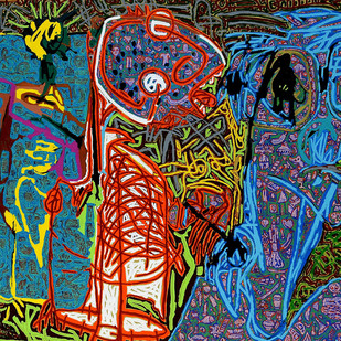 Tribal Usege by Bhuwal Prasad, Expressionism Painting, Acrylic on Canvas, Green color