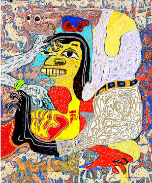 Tribally Masquerade by Bhuwal Prasad, Expressionism Painting, Acrylic on Canvas, Beige color