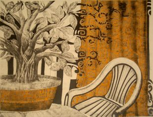 Nature as a decoration by Subhamita Sarkar, Expressionism Printmaking, Lithography on Paper, Brown color