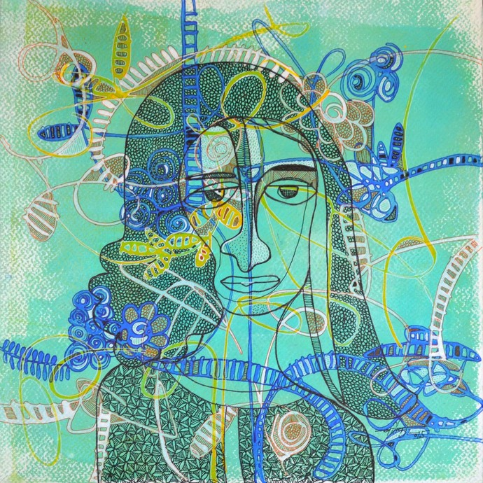Desirous Me - 1 by Vartika Singh, Expressionism Painting, Acrylic & Ink on Paper, Cyan color