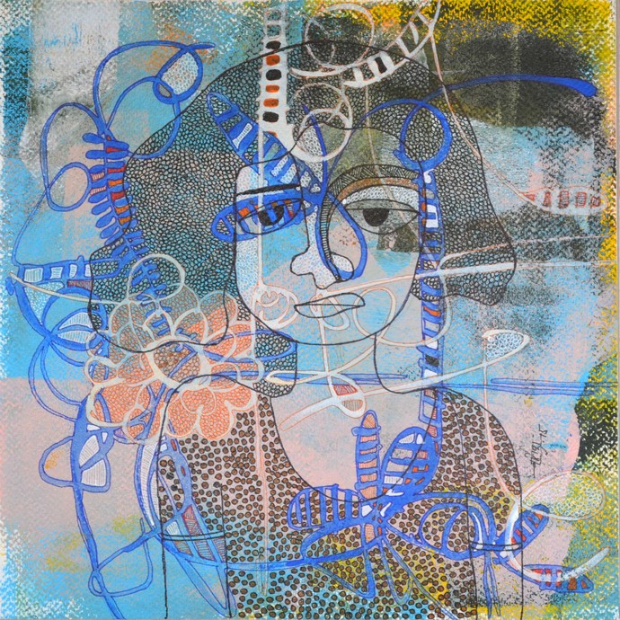Desirous Me - 3 by Vartika Singh, Expressionism Painting, Acrylic & Ink on Paper, Cyan color