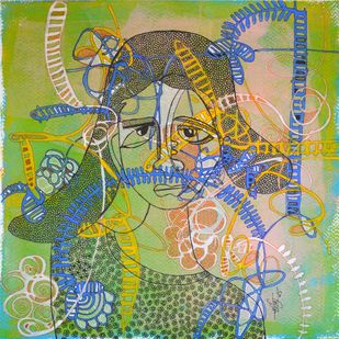 Desirous Me - 5 by Vartika Singh, Expressionism Painting, Acrylic & Ink on Paper, Green color
