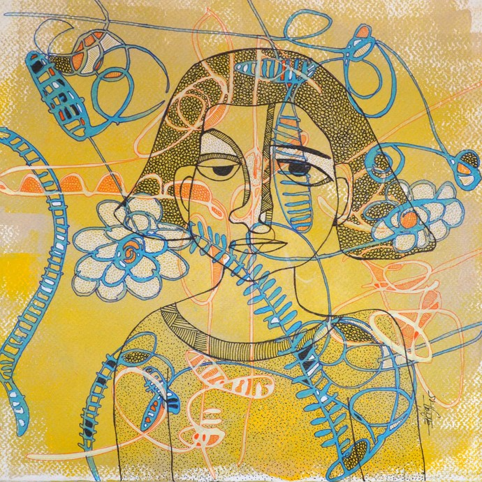 Desirous Me - 6 by Vartika Singh, Expressionism Painting, Acrylic & Ink on Paper, Beige color
