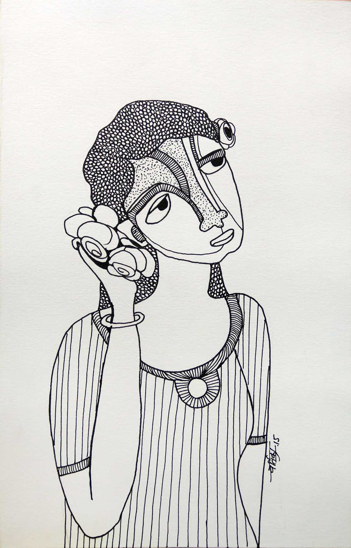 All roses are mine -1 by Vartika Singh, Expressionism Drawing, Pen & Ink on Paper, Gray color