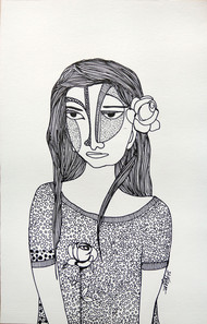 All roses are mine - 3 by Vartika Singh, Expressionism Drawing, Pen & Ink on Paper, Gray color