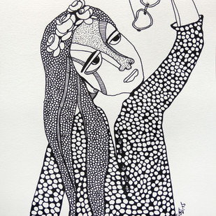 All roses are mine - 4 by Vartika Singh, Expressionism Drawing, Pen & Ink on Paper, Gray color