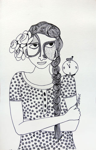 All roses are mine - 5 by Vartika Singh, Expressionism Drawing, Pen & Ink on Paper, Gray color
