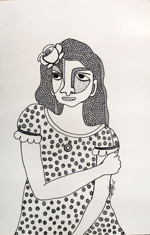 All roses are mine - 6 by Vartika Singh, Expressionism Drawing, Pen & Ink on Paper, Gray color