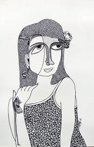 All roses are mine - 7 by Vartika Singh, Expressionism Drawing, Pen & Ink on Paper, Gray color