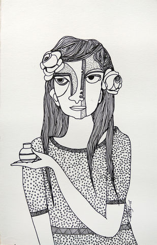 All roses are mine - 9 by Vartika Singh, Expressionism Drawing, Pen & Ink on Paper, Gray color