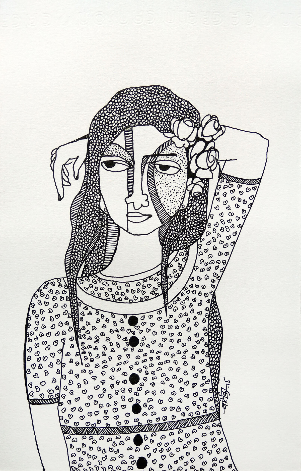 All roses are mine - 10 by Vartika Singh, Expressionism Drawing, Pen & Ink on Paper, Gray color