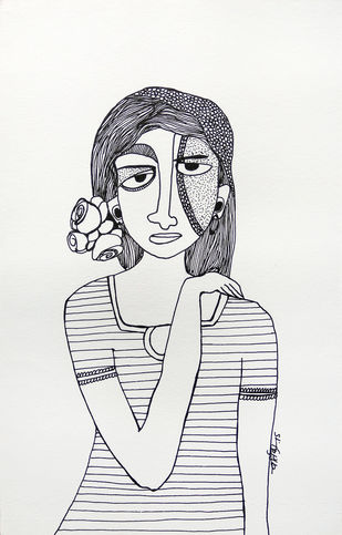 All roses are mine - 11 by Vartika Singh, Expressionism Drawing, Pen & Ink on Paper, Gray color