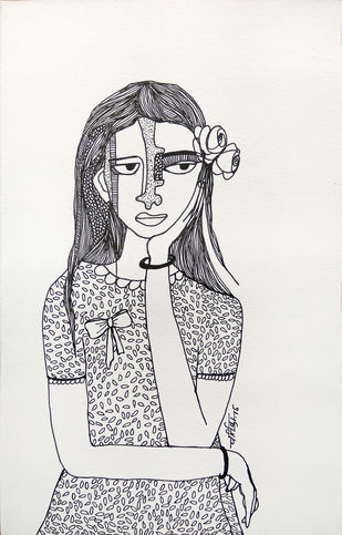 All roses are mine - 12 by Vartika Singh, Illustration Drawing, Pen & Ink on Paper, Gray color