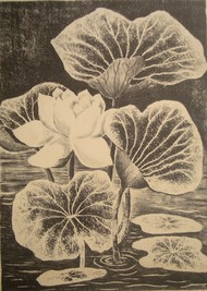 Lotus by Subhamita Sarker, Impressionism Printmaking, Lithography on Paper, Brown color