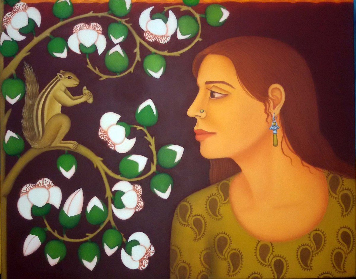 Tryst with Nature Series by Sabia Khan, Expressionism Painting, Oil on Canvas, Brown color