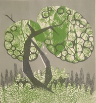 Rhythm of nature by Subhamita Sarkar, Impressionism Printmaking, Lithography on Paper, Beige color