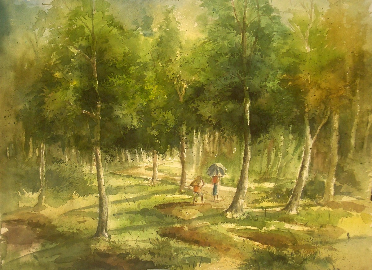 Landscape by Subhamita Sarkar, Impressionism Painting, Watercolor on Paper, Green color