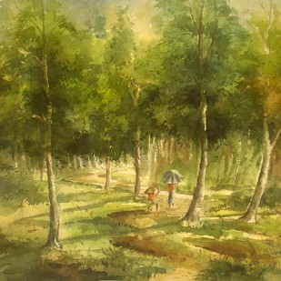 Landscape by Subhamita Sarker, Impressionism Painting, Watercolor on Paper, Green color