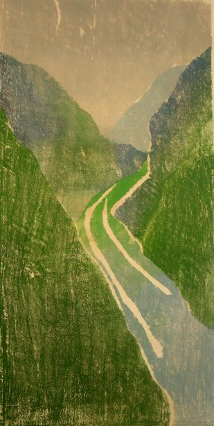 Landscape by Subhamita Sarkar, Impressionism Printmaking, Wood Cut on Paper, Green color