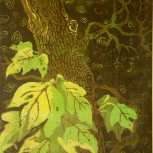 Nature by Subhamita Sarkar, Impressionism Printmaking, Water Based Medium on Paper, Green color