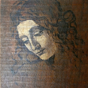 Female Head by Sreenivasa Ram Makineedi, Expressionism Painting, Oil on Canvas Board, Brown color
