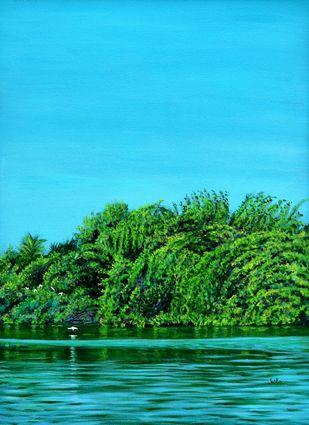 Bird Siesta by Usha Shantharam, Impressionism Painting, Acrylic on Canvas, Cyan color