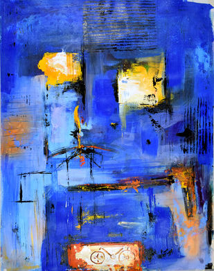 Cycle Experience 43 by Ravi kumar Yogi, Abstract Painting, Acrylic on Paper, Blue color