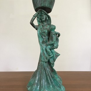 Untitled by Pushpa Devi, Art Deco Sculpture | 3D, Bronze, Beige color
