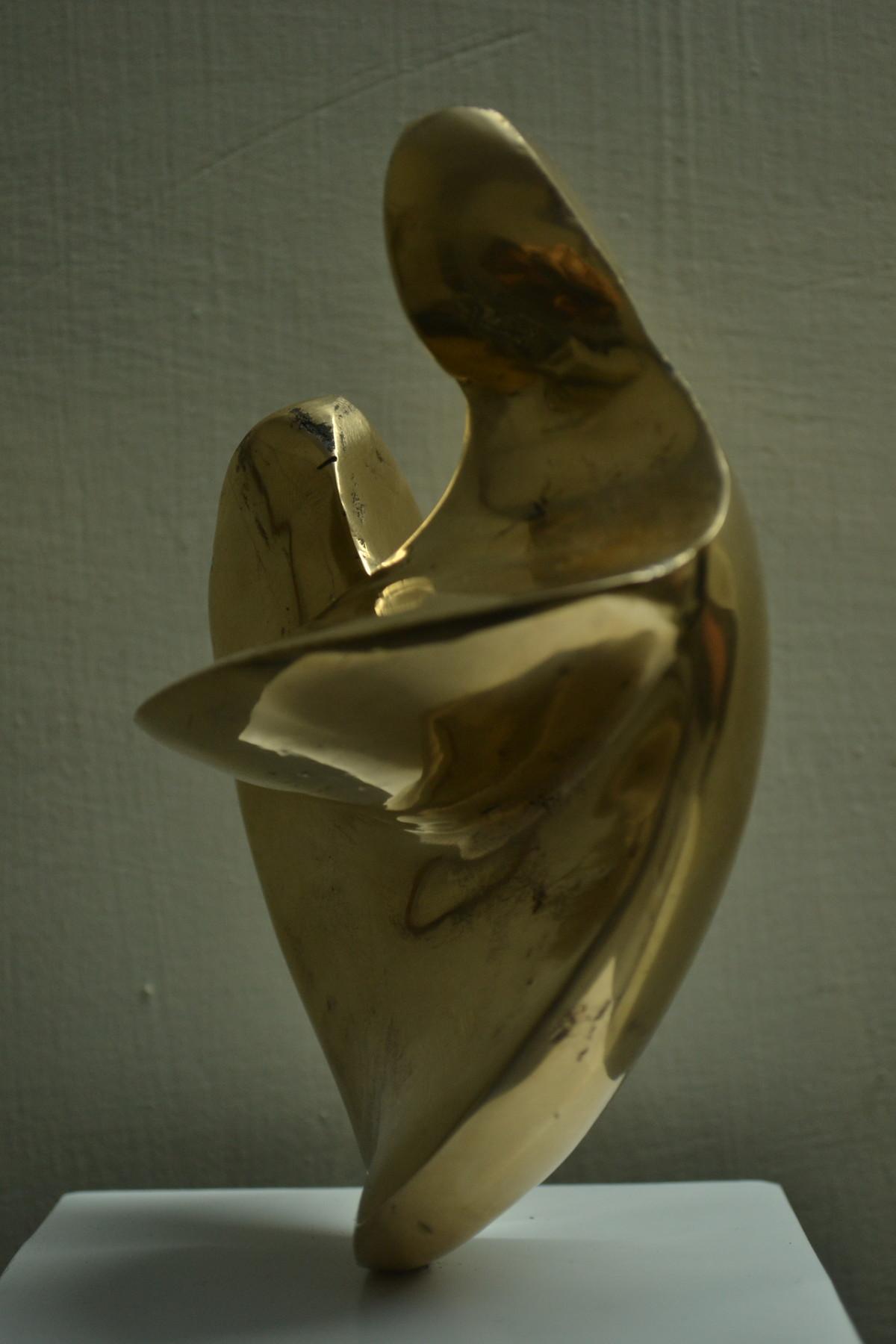 Mother & Child by Gurmeet Goldie, Art Deco Sculpture | 3D, Bronze, Green color