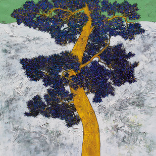 tree of life by Bhaskar Rao, Impressionism Painting, Acrylic & Ink on Canvas, Gray color